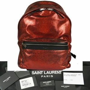 SAINT LAURENT Red GLITTER COATED CANVAS Backpack